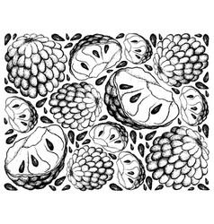 Hand drawn background of ripe custard apple vector