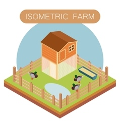 Isometric farm house for ducks vector image vector image