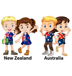 Kids from new zealand and australia vector