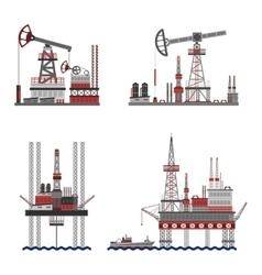 Oil petroleum platform set vector