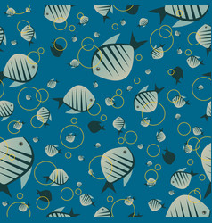 pattern with cute fish in blue color vector image vector image