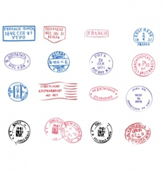 Postmarks traced vector