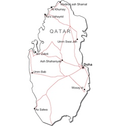 Qatar black white map vector
