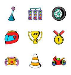 Race icons set cartoon style vector