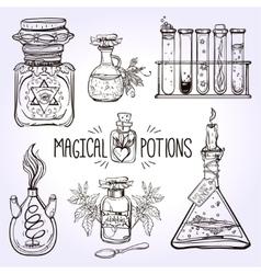 Set of beautiful ornate potion bottles vector