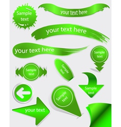 Set of green labels vector image