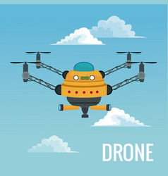 Sky landscape background big robot drone with four vector