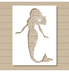 stencil template of mermaid on wooden background vector image vector image