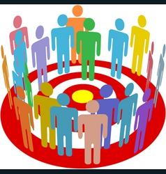 targeted marketing people group on target vector image