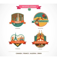 World Places - Paris Toronto Barcelona Sahara vector image