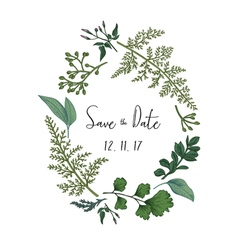 Wreath with herbs and leaves isolated vector