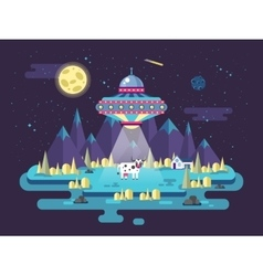 A flying saucer ufo stealing cow vector