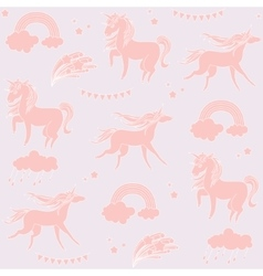 Sandy color unicorns with clouds on a biege vector