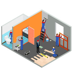 interior renovation room or house isometric view vector image