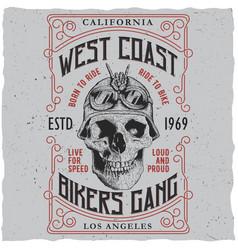 West coast bikers gang poster vector