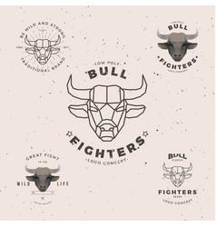 Bull head logo set vector