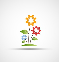 Flower logo in the form of gears vector