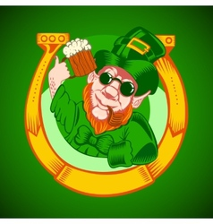 Leprechaun holding a mug of beer in his hand and vector