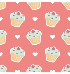 Tile pattern cupcake and hearts on pink background vector