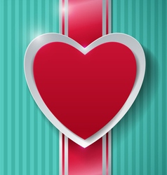 Paper heart and ribbon on turquoise background vector