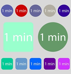 One minutes sign icon 12 colored buttons flat vector