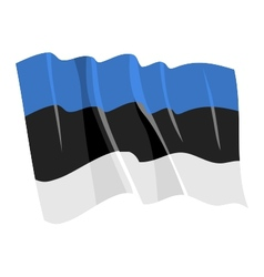 political waving flag of estonia vector image