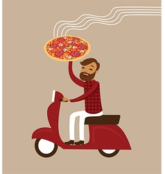 Young courier deliver hot pizza vector