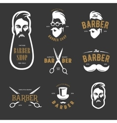 Set of vintage barber shop emblems label vector