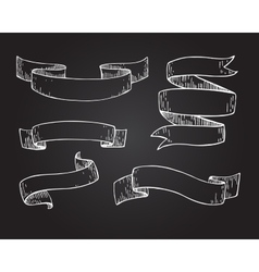Set of hand drawn scrolled ribbons on vector