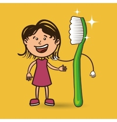 Girl with toothbrush isolated icon design vector