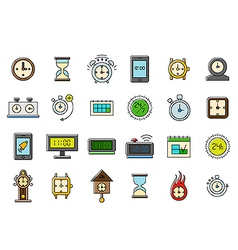 Colorful clocks icons set vector image