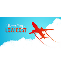 banner advertising low cost airlines red vector image