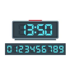 blue digital clock and set of glowing numbers vector image