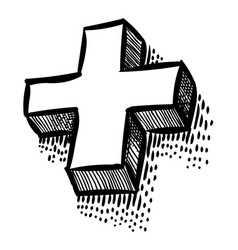 Cartoon image of plus icon cross symbol vector