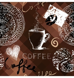 Coffee grunge pattern on polygonal background vector