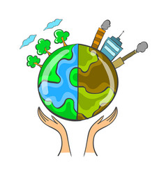 collection bad environment world doodle vector image
