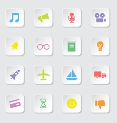 Colorful web icon set 5 on white rounded rectangle vector