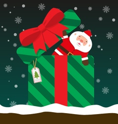 Cute fat big santa claus come out of gift box vector
