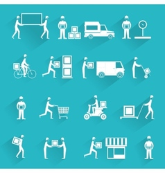 Delivery icons white set vector image vector image