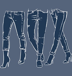Drawing womens fashionable denim jeans vector