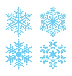 four blue snowflakes vector image