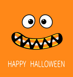 happy halloween scary monster face emotions vector image vector image