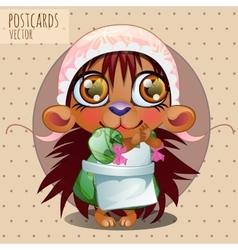 Hedgehog girl in cap series cartoon vector