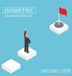 Isometric businessman facing with the missing step vector