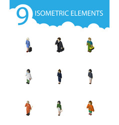 Isometric human set of cleaner doctor pedagogue vector