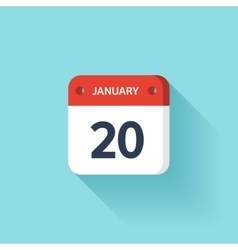 January 20 isometric calendar icon with shadow vector