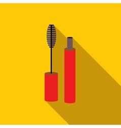 Lash mascara tube with brush icon flat style vector