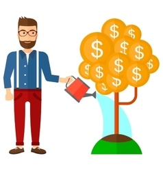 Man watering money tree vector image vector image