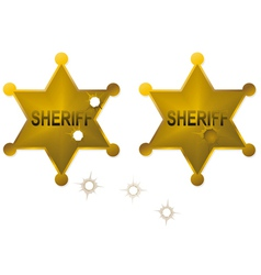 Old sheriff badges vector