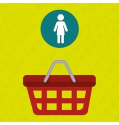 red basket with person isolated icon design vector image vector image
